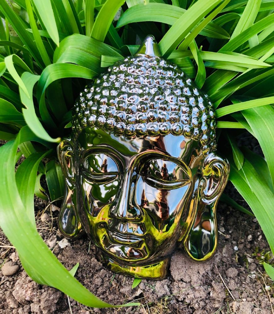 Mirrored 21cm Thai Buddha Head Home | Garden Wall Art